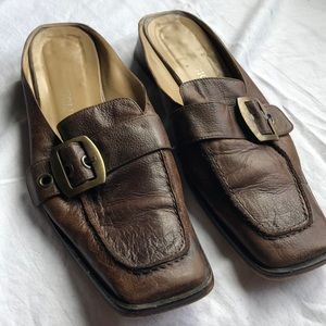 Enzo brown leather mules with gold buckle detail